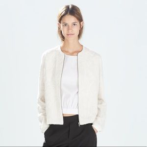 NWT Zara Ivory Textured Embroidered Bomber Jacket